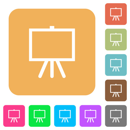 Easel with blank canvas flat icons on rounded square vivid color backgrounds.