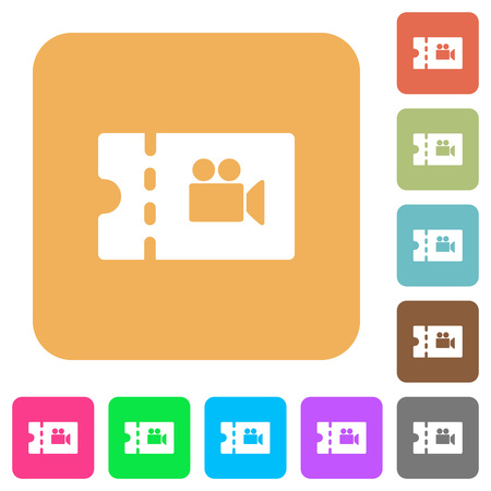 Movie discount coupon flat icons on rounded square vivid color backgrounds.