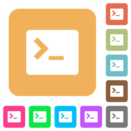 Command terminal flat icons on rounded square vivid color backgrounds. Illustration