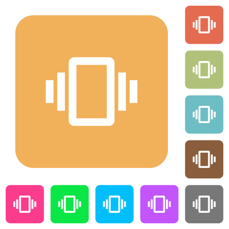 Smartphone vibration flat icons on rounded square vivid color backgrounds.