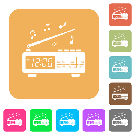 Vintage radio clock with music flat icons on rounded square vivid color backgrounds. Ilustração
