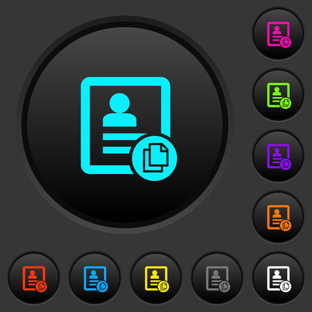 Copy contact dark push buttons with vivid color icons on dark grey background