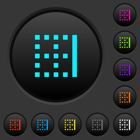 Right border dark push buttons with vivid color icons on dark grey background
