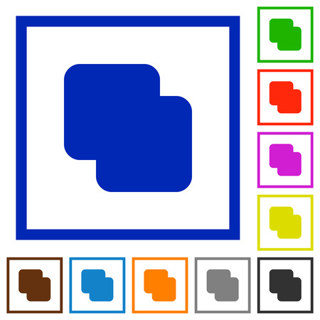 Add shapes flat color icons in square frames on white background