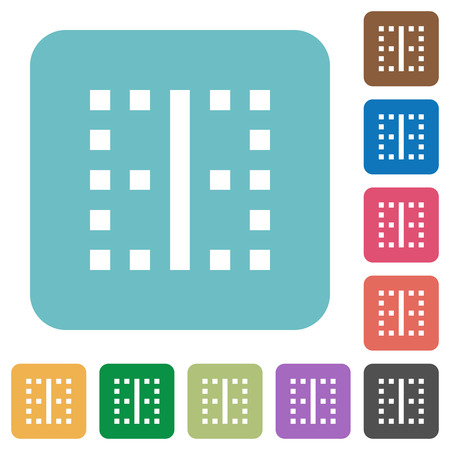Vertical border white flat icons on color rounded square backgrounds Ilustracja