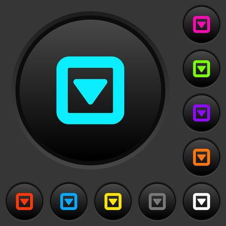 Toggle down dark push buttons with vivid color icons on dark grey background Illustration