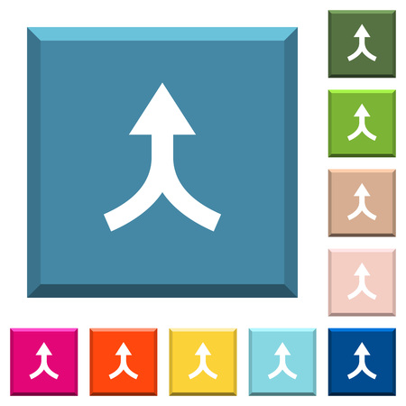 Merge arrows up white icons on edged square buttons in various trendy colors Stock Illustratie