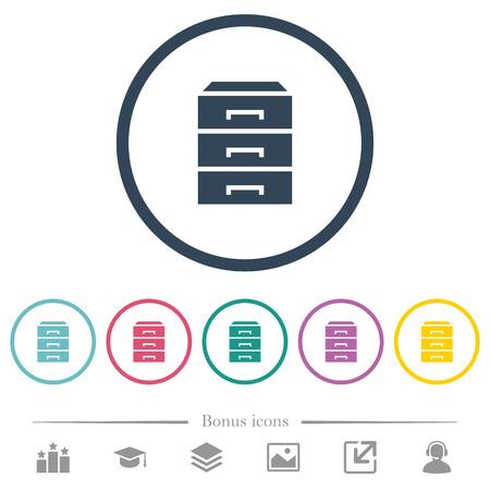 Catégorisez les icônes de couleur plate dans des contours ronds. 6 icônes bonus incluses.