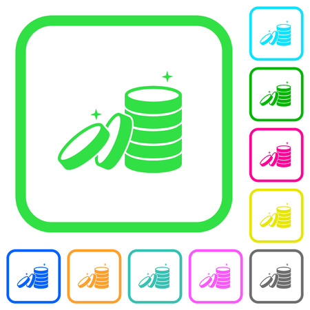Stack of treasure vivid colored flat icons in curved borders on white background