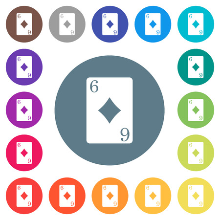 Six of diamonds card flat white icons on round color backgrounds. 17 background color variations are included. Illustration