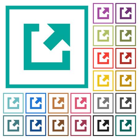 Iconos de color plano de enlace externo con marcos de cuadrante sobre fondo blanco Ilustración de vector