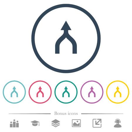 Führen Sie Pfeile nach oben flache Farbsymbole in runden Umrissen zusammen. 6 Bonussymbole enthalten.
