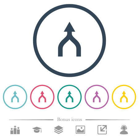 Merge arrows up flat color icons in round outlines. 6 bonus icons included.