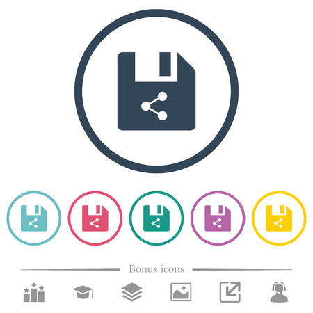 Share file flat color icons in round outlines. 6 bonus icons included. Ilustrace
