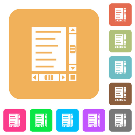 Document with content and scroll bars flat icons on rounded square vivid color backgrounds.