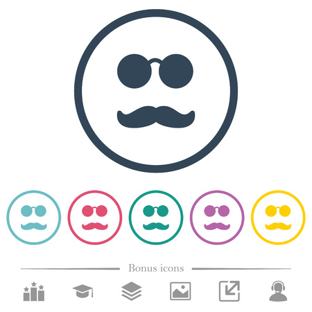 Glasses and mustache flat color icons in round outlines. 6 bonus icons included.