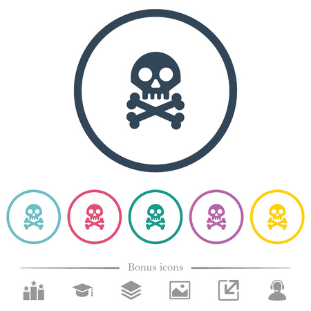 Skull with bones flat color icons in round outlines. 6 bonus icons included. Ilustracja