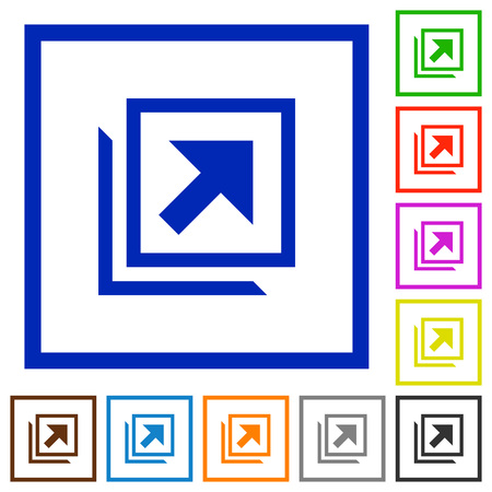 Open in new window flat color icons in square frames on white background Vector Illustratie