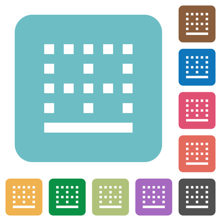 Bottom border white flat icons on color rounded square backgrounds