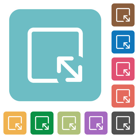 Resize object white flat icons on color rounded square backgrounds Фото со стока - 108038355