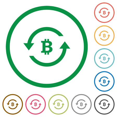 Bitcoin pay back flat color icons in round outlines on white background