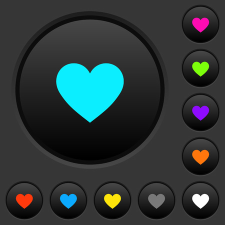 Heart card symbol dark push buttons with vivid color icons on dark grey background Illusztráció
