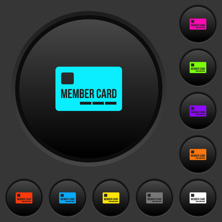 Member card dark push buttons with vivid color icons on dark grey background