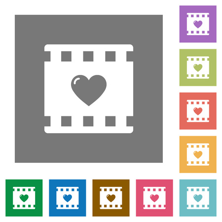 Favorite movie flat icons on simple color square backgrounds
