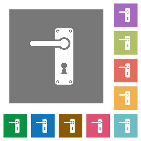 Left handed door handle with screws flat icons on simple color square backgrounds