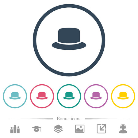 Hat flat color icons in round outlines. 6 bonus icons included.  イラスト・ベクター素材