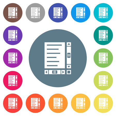 Document with content and scroll bars flat white icons on round color backgrounds. 17 background color variations are included.