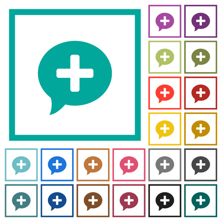 Add comment flat color icons with quadrant frames on white background