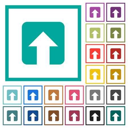 Upload flat color icons with quadrant frames on white background Vector Illustratie