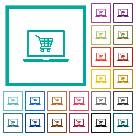 Webshop flat color icons with quadrant frames on white background Ilustração