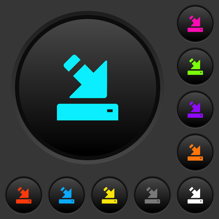 Import to device dark push buttons with vivid color icons on dark grey background
