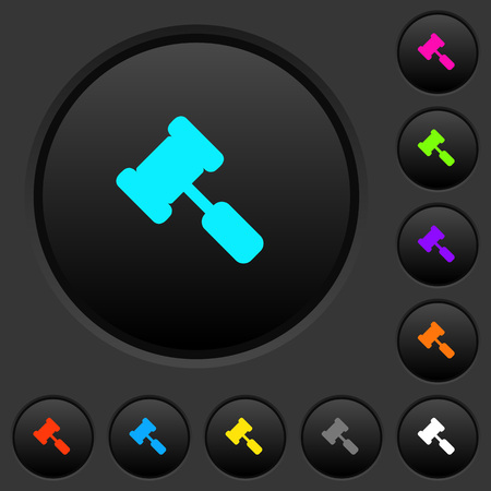 Judge hammer dark push buttons with vivid color icons on dark grey background