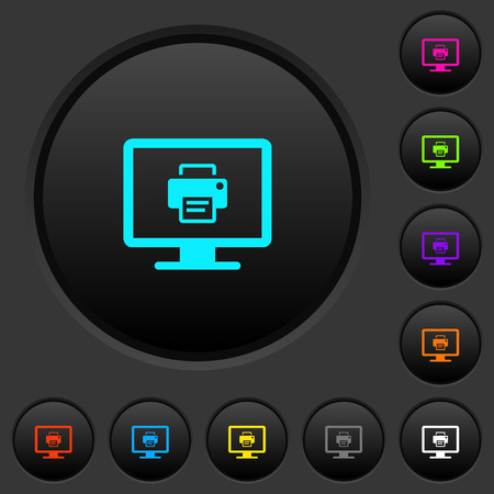 Print screen dark push buttons with vivid color icons on dark grey background Çizim