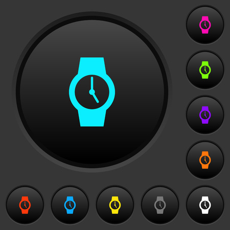 Watch dark push buttons with vivid color icons on dark grey background