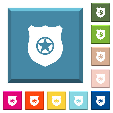 Police badge white icons on edged square buttons in various trendy colors Illustration