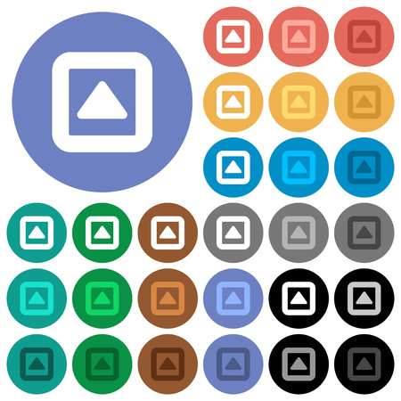 Toggle up multi colored flat icons on round backgrounds. Included white, light and dark icon variations for hover and active status effects, and bonus shades.