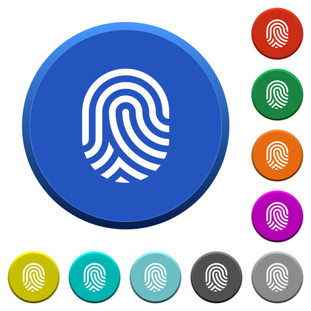 Fingerprint round color beveled buttons with smooth surfaces and flat white icons