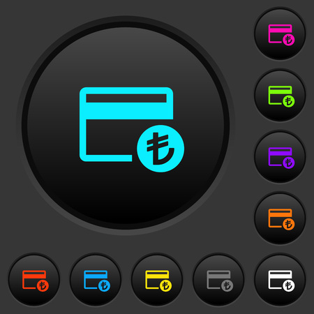 Turkish Lira credit card dark push buttons with vivid color icons on dark grey background
