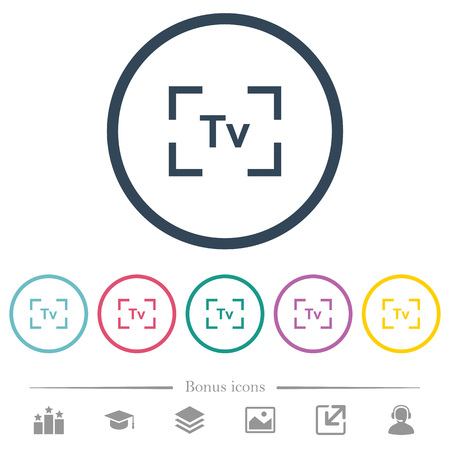 Camera time value mode flat color icons in round outlines. 6 bonus icons included.