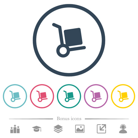 Hand truck flat color icons in round outlines. 6 bonus icons included.
