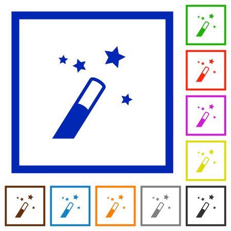 Application wizard flat color icons in square frames on white background Illusztráció