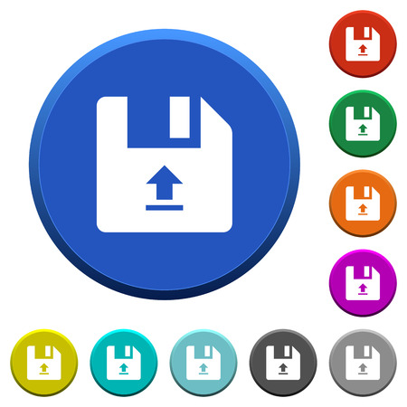 Upload file round color beveled buttons with smooth surfaces and flat white icons