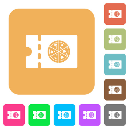 Pizzeria discount coupon flat icons on rounded square vivid color backgrounds.