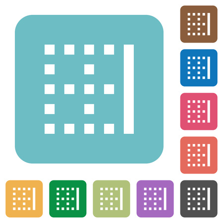 Right border white flat icons on color rounded square backgrounds