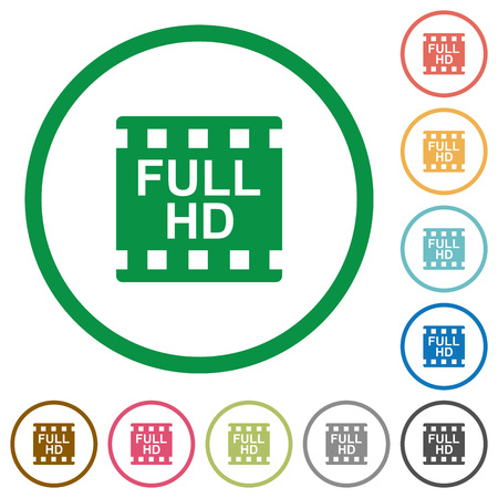 Full HD movie format flat color icons in round outlines on white background  イラスト・ベクター素材