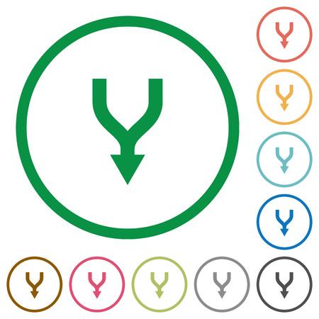 Combinar flechas hacia abajo iconos de colores planos en contornos redondos sobre fondo blanco Ilustración de vector